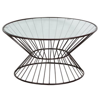 Glass Top Wire Framed Coffee Table