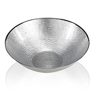 Glamour Silver Leaf Round Glass Serving Bowl