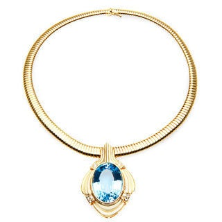 14k Yellow Gold Modern Vintage Diamond and Blue Topaz Statement Stretch Necklace