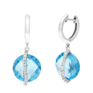 14k White Gold Round Briolette Blue Topaz and Diamond Accent Dangle Hoop Earrings