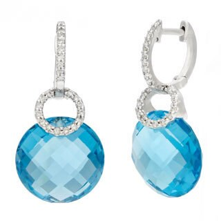 14k White Gold Briolette Blue Topaz and Diamond Accent Dangle Hoop Earrings