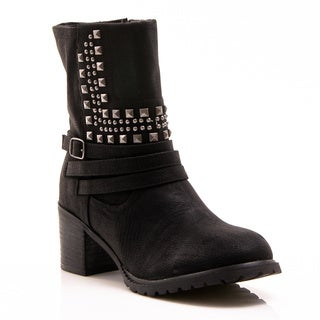 Gomax Women's 'Barn Yard 06' Black Suede Studded Riding Booties