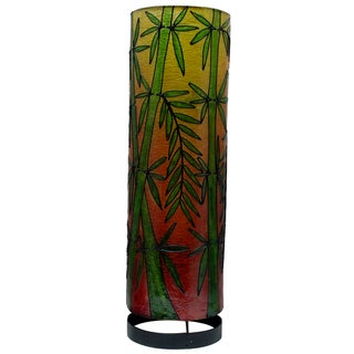 Handcrafted 20-inch Bamboo Print Cylinder Table Lamp (Indonesia)