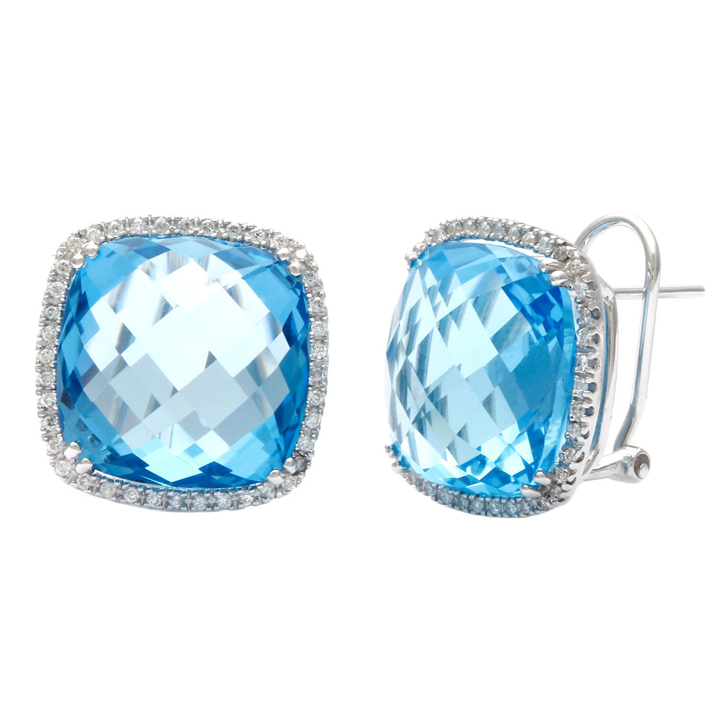 Kabella Jewelry 18k Gold Diamond and Cushion cut Blue Topaz Earrings
