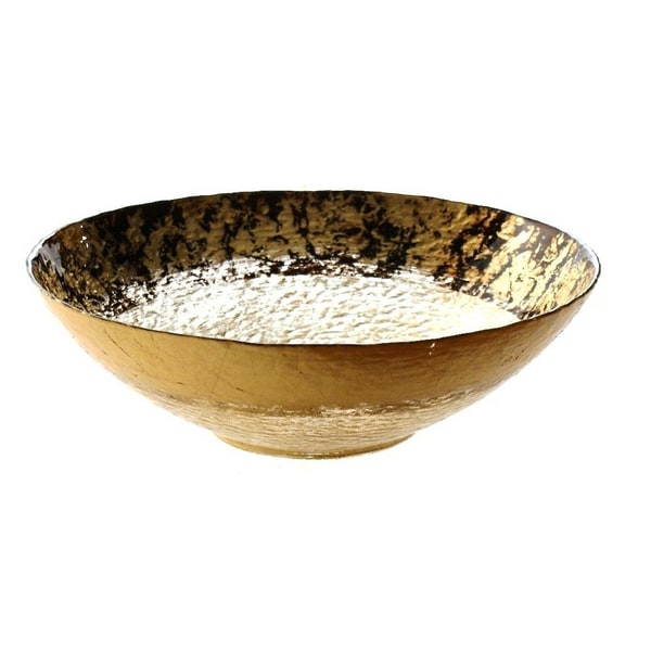 Leopard Print Brown and Gold Glass Serving Bowl