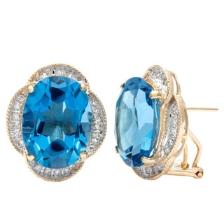 Kabella Luxe 14k Gold Diamond and Oval cut Blue Topaz Earrings