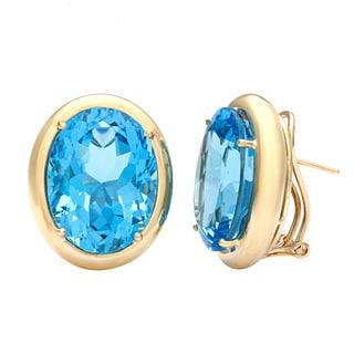 Kabella Luxe Vintage 14k Gold Oval Blue Topaz Earrings
