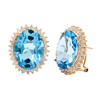 Kabella Luxe Vintage 14k Gold Diamond with Oval Blue Topaz Earrings (H-I, I2-I3)