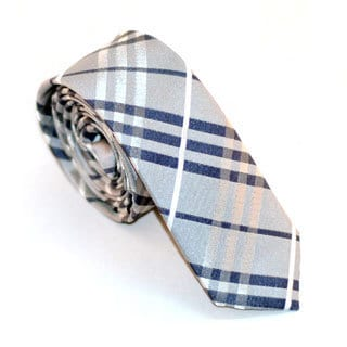 Skinny Tie Madness Men's Light Gray Plaid Skinny Tie