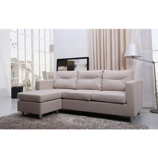 Gold Sparrow Detroit Sand Convertible Sectional Sofa and Ottoman