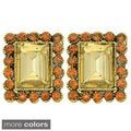 Kate Marie Goldtone Rhinestone Rectangle Earrings