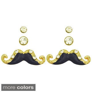 Kate Marie Goldtone Mustache Earrings (Set of 3)