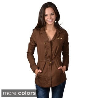Journee Collection Junior's Long Sleeve Drawstring Waist Jacket