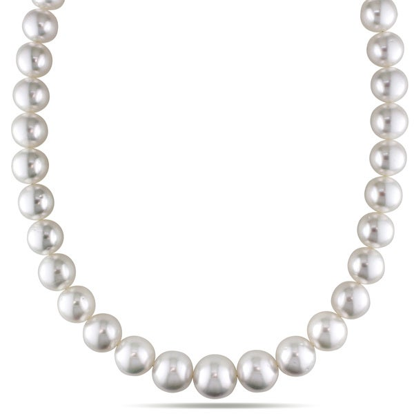 Miadora Signature Collection 14k Yellow Gold South Sea White Pearl and Diamond Necklace (12-15 mm)