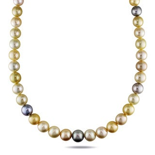 Miadora 14k Yellow Gold South Sea and Tahitian Pearl Necklace (9-12 mm)