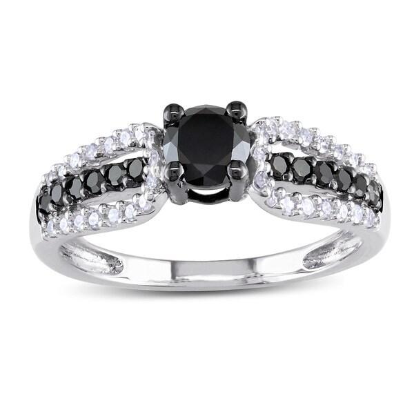Miadora 10k White Gold 3/4ct TDW Black and White Diamond Engagement Ring