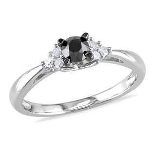 Haylee Jewels Sterling Silver 1/2ct TDW Black and White Diamond Engagement Ring