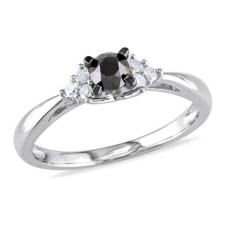 M by Miadora Sterling Silver 1/2ct TDW Black and White Diamond Engagement Ring