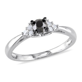 Miadora Sterling Silver 1/2ct TDW Black and White Diamond Engagement Ring