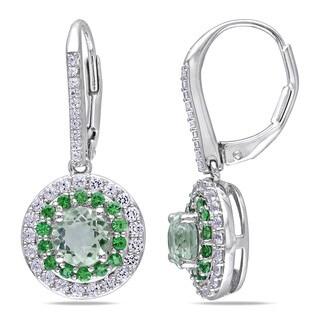 Miadora Sterling Silver Amethyst, Created Sapphire and Tsavorite Halo Earrings