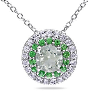 Miadora Sterling Silver Amethyst, Created Sapphire and Tsavorite Halo Necklace