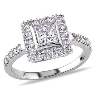 Miadora 14k White Gold 1ct TDW Princess Cut Diamond Ring (G-H, SI1-SI2)