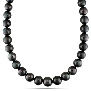 Miadora 14k White Gold Tahitian Black Pearl and Diamond Necklace (13-16 mm)