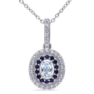Miadora Sterling Silver Blue Topaz and Created Sapphire Necklace