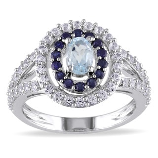 Miadora Sterling Silver Topaz and Sapphire Ring