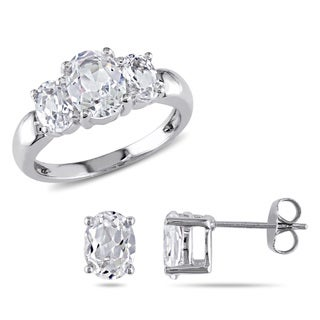Miadora Sterling Silver Created White Sapphire Ring and Earrings Set