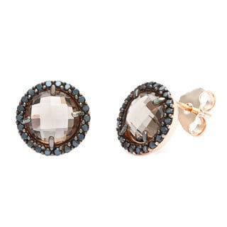 18k Gold Ovlerlay Smokey Quartz Cubic Zirconia Stud Earrings