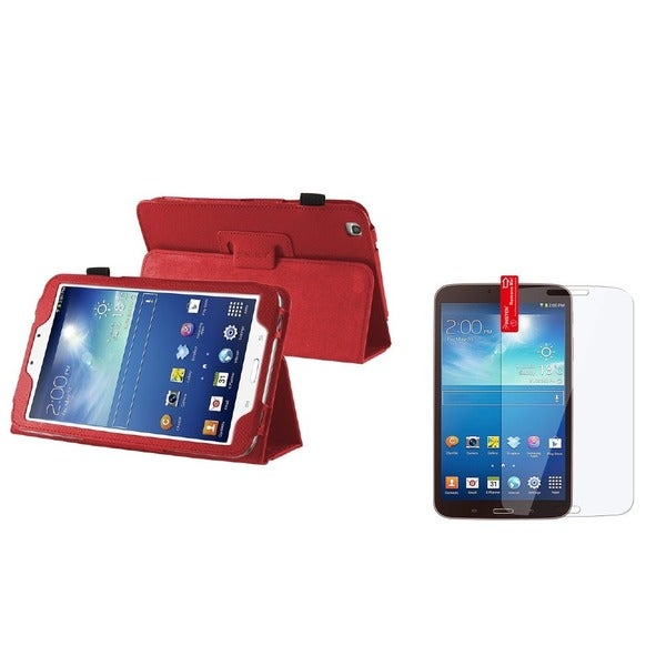INSTEN Leather Tablet Case Cover/ LCD Protector for Samsung Galaxy Tab 3 8.0 T3100