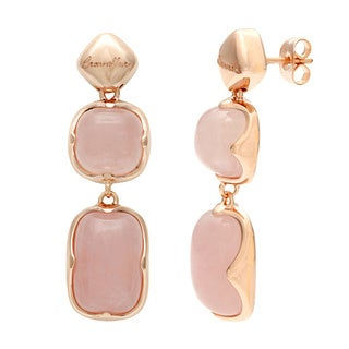 18k Gold Overlay Rose Quartz Drop Earrings