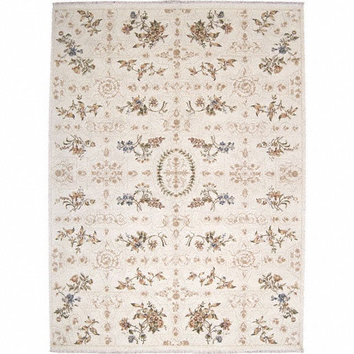 Nourison Hand-knotted Legacy Trapunto Ivory Wool/Silk Rug (8'6 x 11'6)