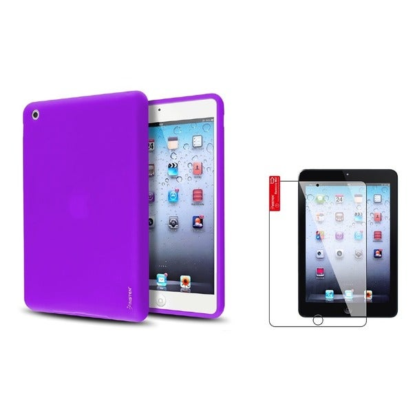 INSTEN Purple Tablet Case Cover/ Screen Protector for Apple iPad Mini 1/ 2 Retina Display