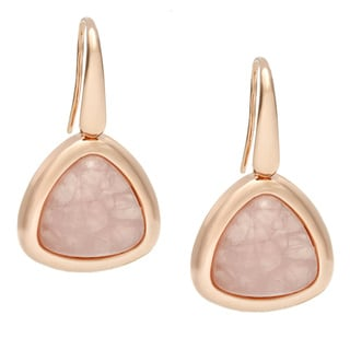 18k Gold Overlaid Rose Cabochon Dangle Earrings