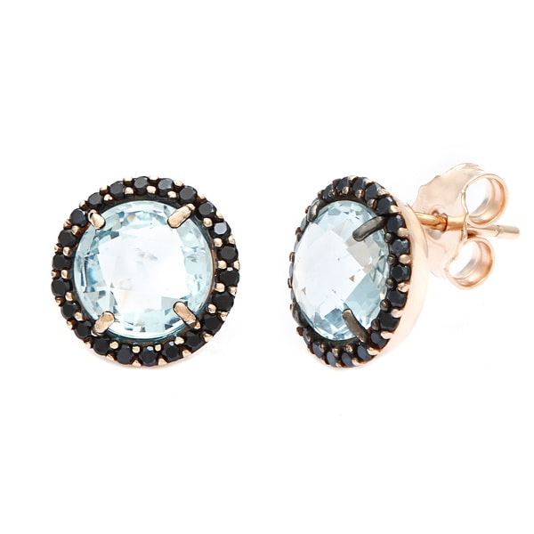 18k Gold Overlay Blue Topaz Black Cubic Zirconia Stud Earrings