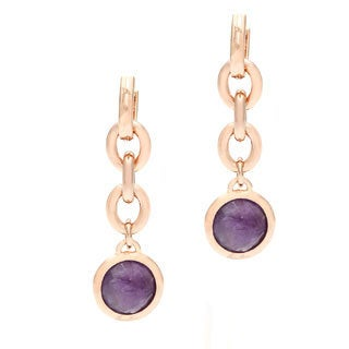 18k Gold Overlay Amethyst Dangle Earrings