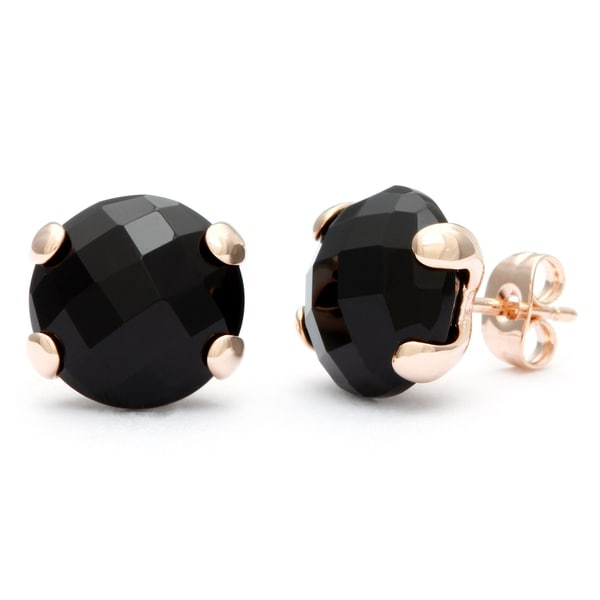 18k Gold Overlay Onyx Stud Earrings