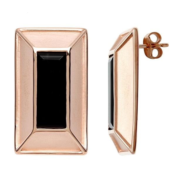 18k Gold Overlay Black Rectangle Onyx Stud Earrings