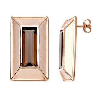 18k Gold Overlay Rectangle Smokey Quartz Earrings