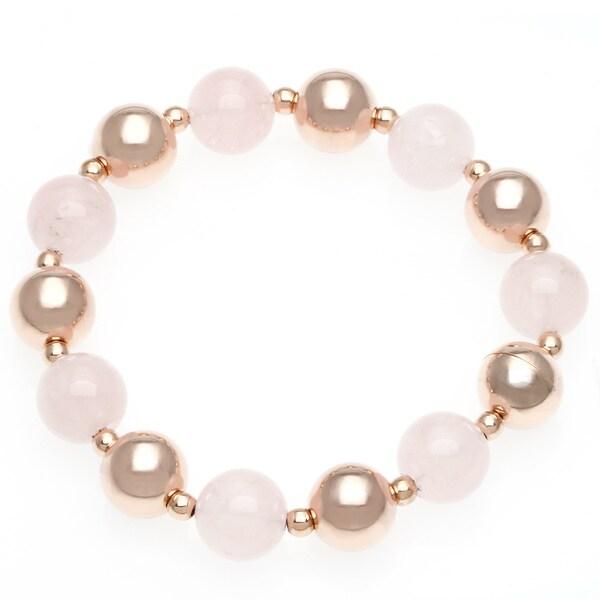 18k Rose Gold Overlay Quartz Link Bracelet