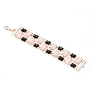 18k Gold Overlay Black Onyx and Rose Quartz Link Bracelet