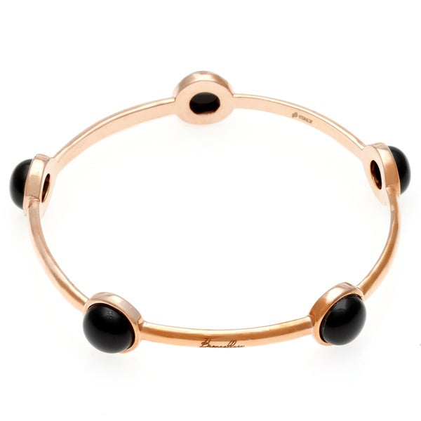 18k Gold Overlay Black Onyx Bangle Bracelet