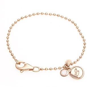 18k Gold Overlay Rose Quartz Ball Bracelet