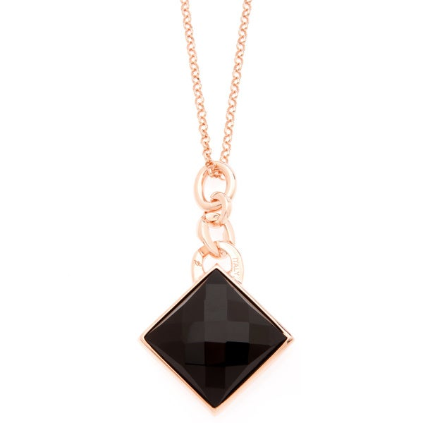 18k Gold Overlay Black Onyx Necklace