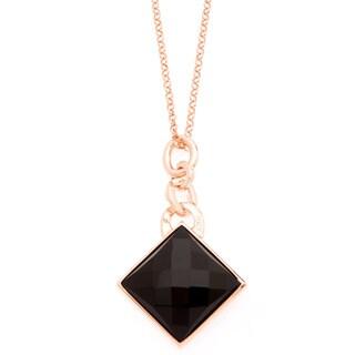 18k Gold Overlay Black Onyx Necklace