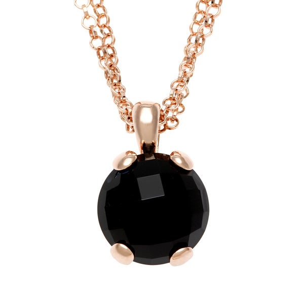 18k Gold Overlay Onyx Pendant Necklace