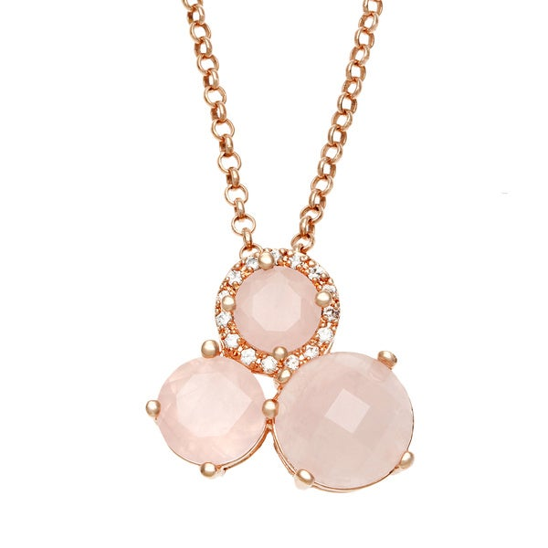 18k Gold Overlaid Cubic Zirconia Rose Gold Quartz Pendant Necklace