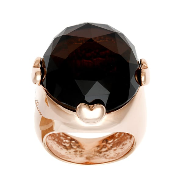 18k Gold Overlay Domed Smokey Quartz Ring